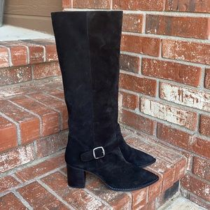 Free People Dahlia Black Suede Slouch Boot Size 41